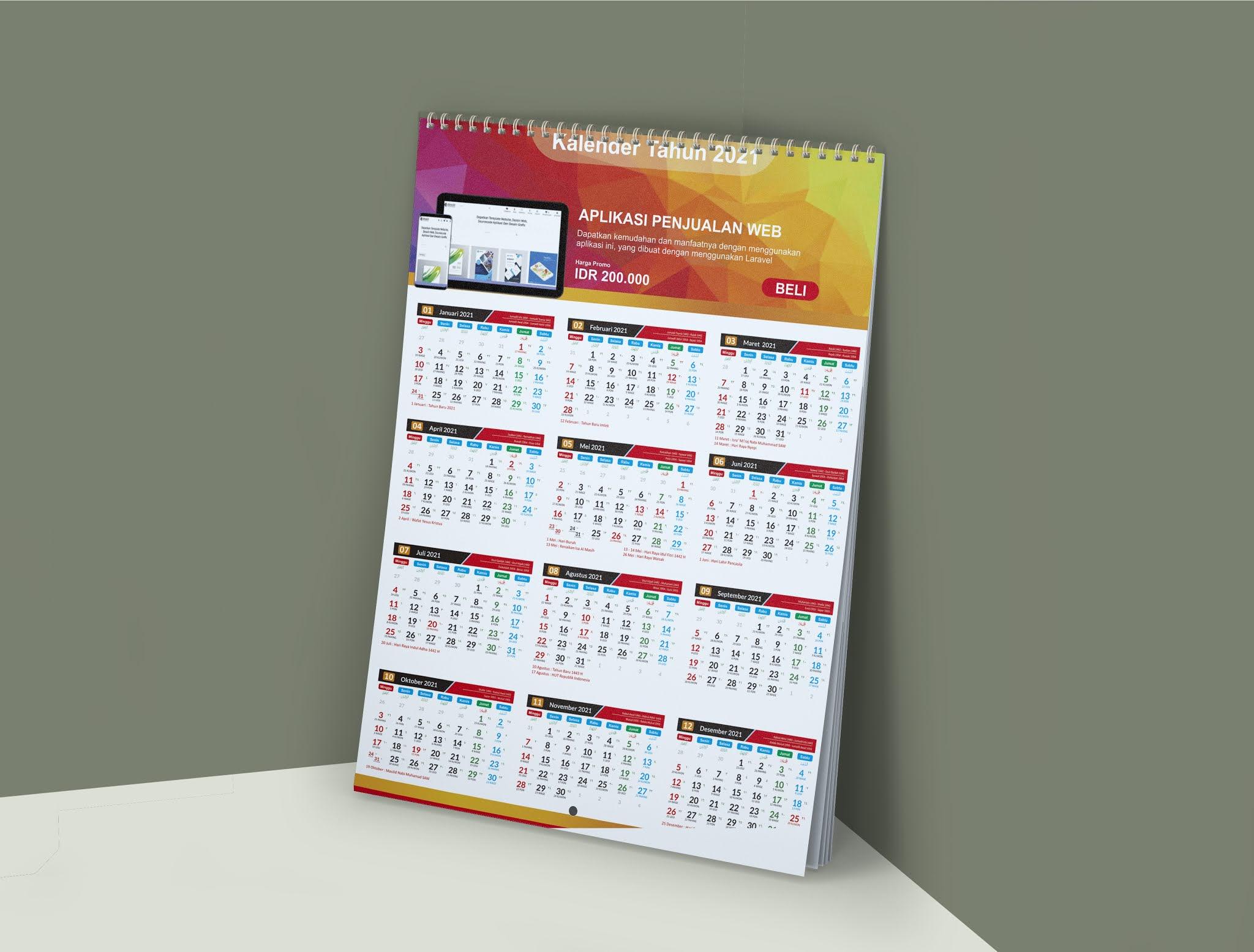 Desain Template Kalender Tahun 2021