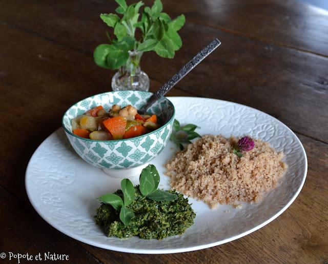 Sauce aux feuilles de trèfles et couscous d'épeautre © Popote et Nature