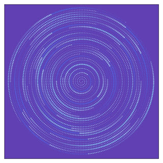 An example image of Archimedes's spiral in blue and cyan.