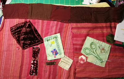 Update on fabric collage to make textile art piece