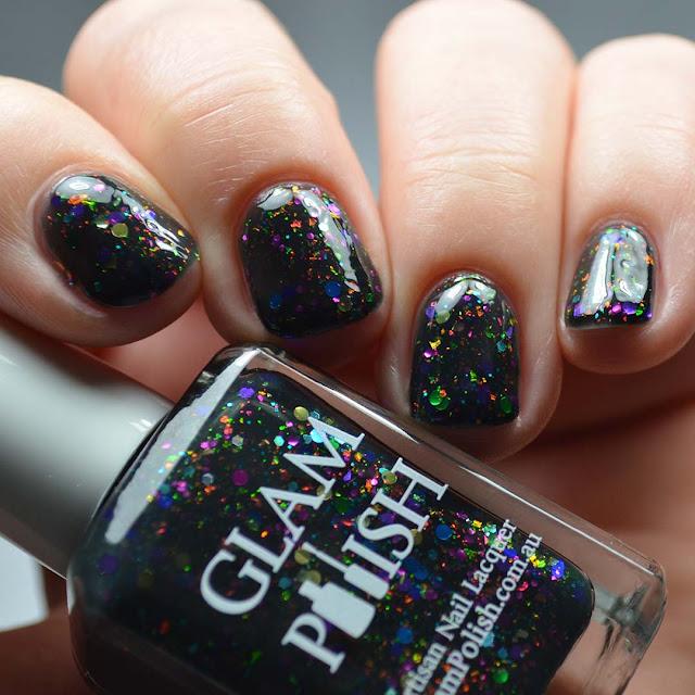 black jelly nail polish with rainbow glitter