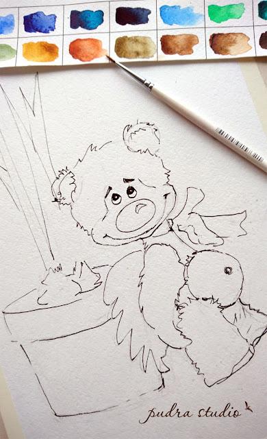 iliustracija, piešimas, eskizas, meškiukai