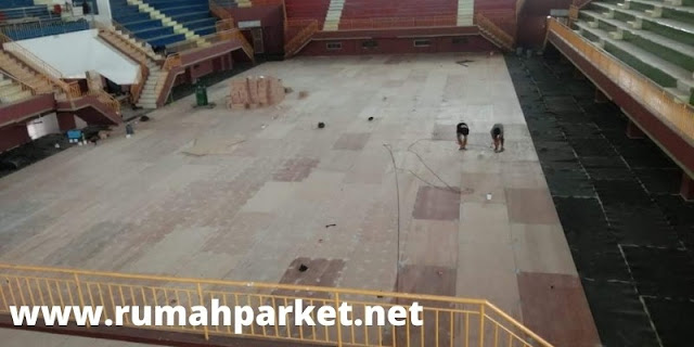 tahap pemasangan lantai kayu jati