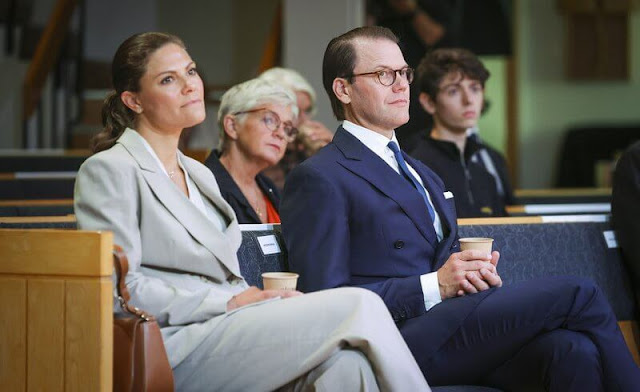 Crown Princess Victoria carried Little Liffner crossbody bag. Crown Princess Victoria wore blazer and pants from By Malina