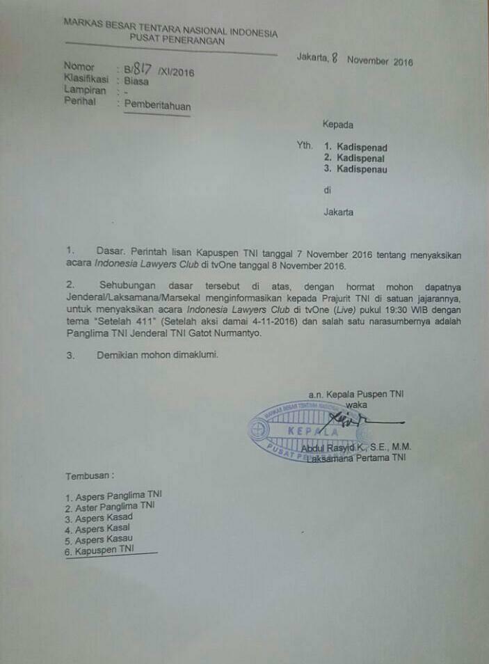 Panglima TNI Instruksikan untuk Saksikan Acara ILC Nanti Malam, Ada Apa? : Berita Terbaru Hari Ini