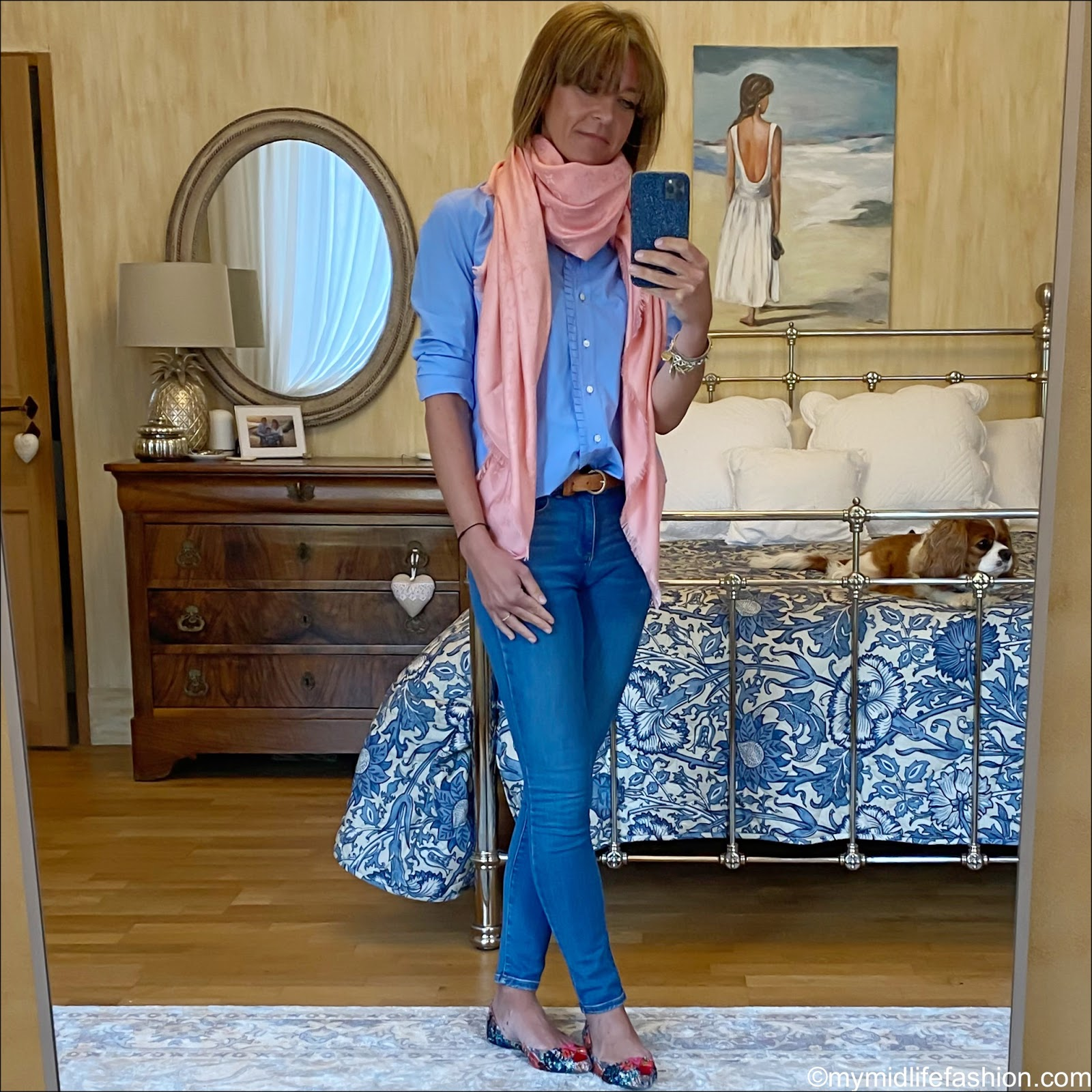my midlife fashion, white stuff skinny jeans, Louis Vuitton monogrammed silk shawl, j crew ruffle shirt, Massimo Dutti leather tan belt, j crew tweed pointed flats