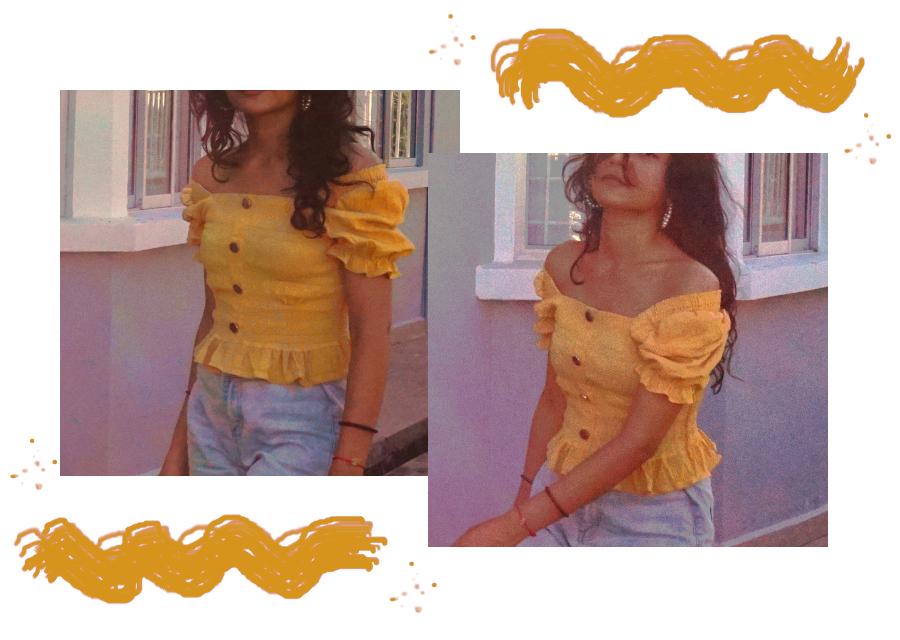 Retro blouse mustard yellow look