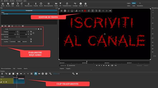 testo personalizzato in clip con sfondo trasparente