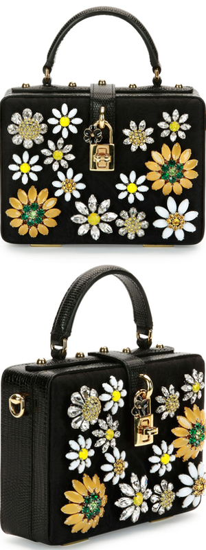 Dolce & Gabbana Dolce Box Crystal Flower Satchel Bag, Black/Multi