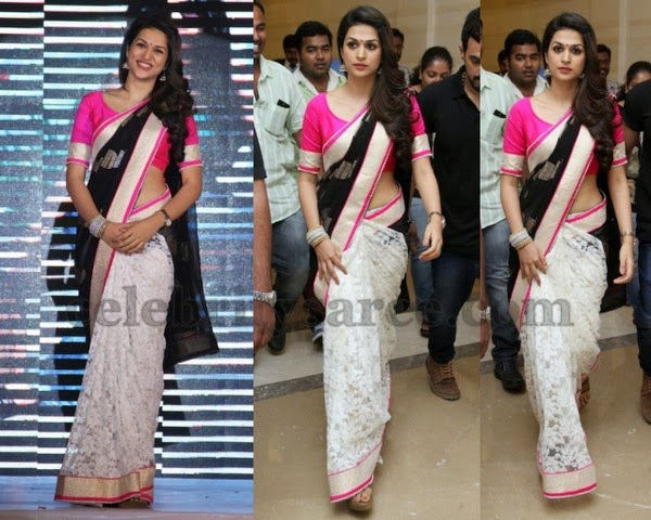 Shraddha Das Cream Brasso Saree - Saree Blouse Patterns