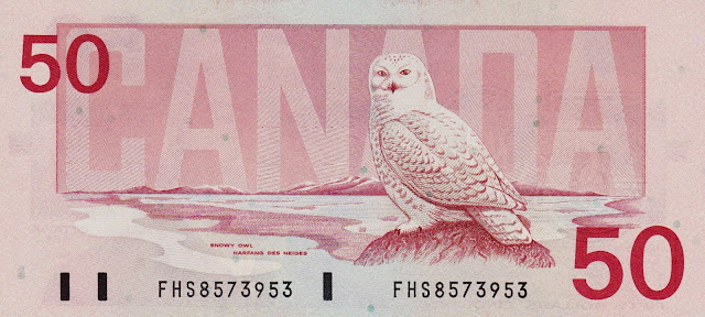 Canada money currency 50 Dollars banknote 1988 Birds, Snowy owl