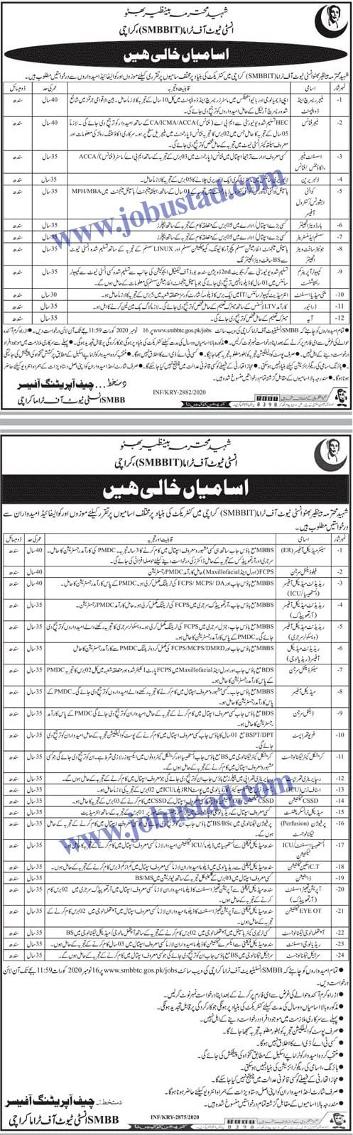 Jobs in Shaheed Mohtarama Benazir Bhutto Institute of Trauma 2020