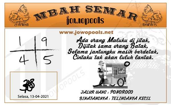 Syair HK Mbah Semar 13 April 2021