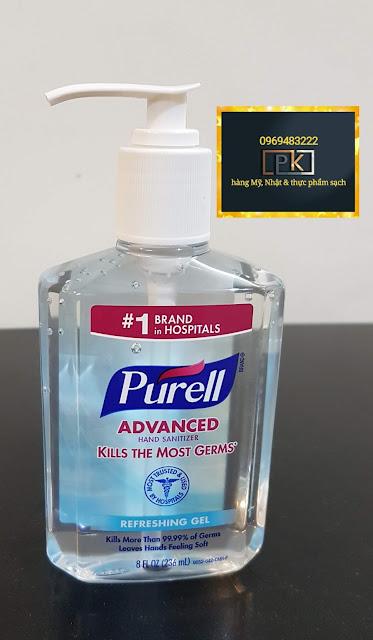 Gel rửa tay Purell, hàng Mỹ, Chai vòi 236 ml