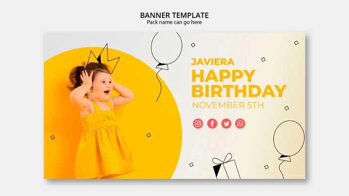 Banner Template With Happy Birthday