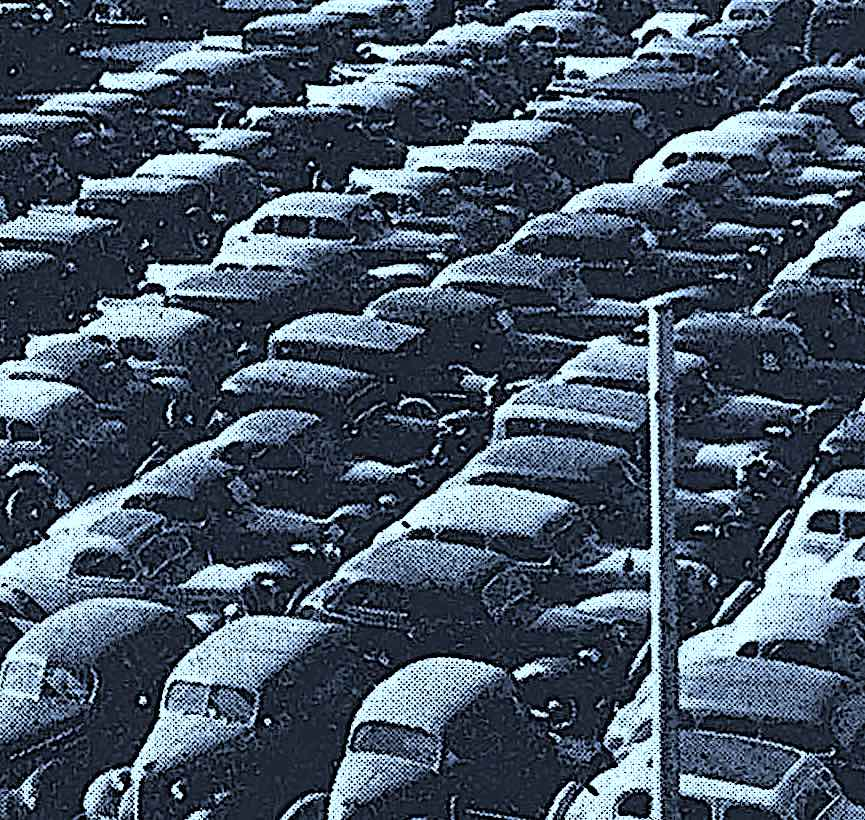 a photograph of a packed 1941 parking lot