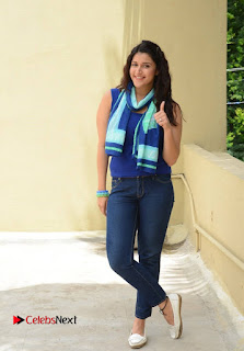 Actress Mannara Chopra Pictures in Jeans at Thikka Movie Team Meet  0015.jpg