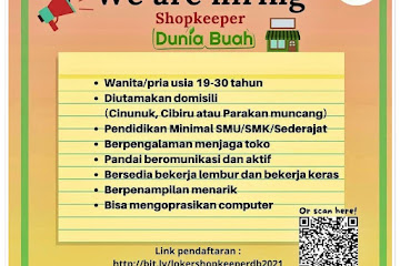 Loker Bandung Shopkeeper Dunia Buah