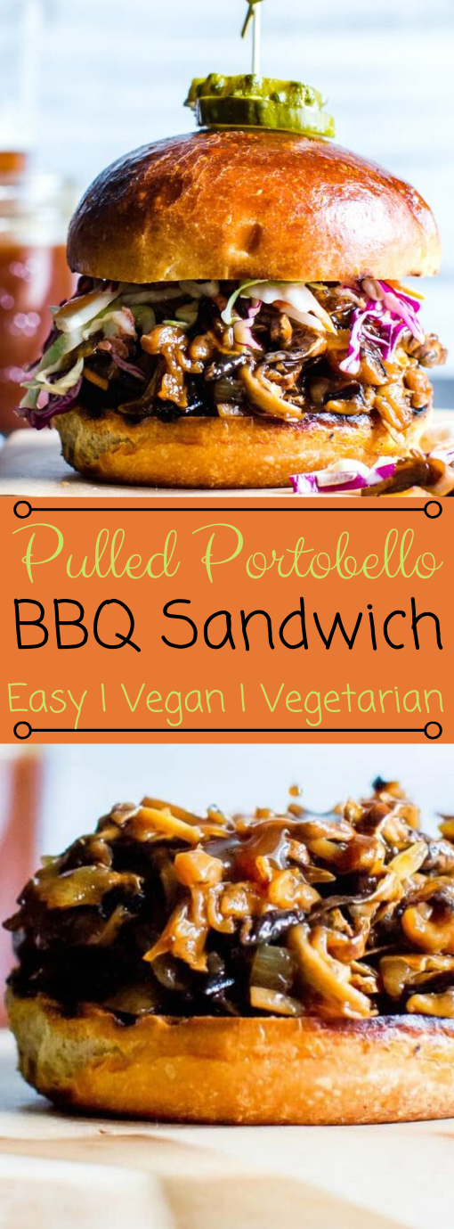 PULLED PORTOBELLO BBQ SANDWICHES #vegetarian #bbq #cauliflower #mushroom #easy