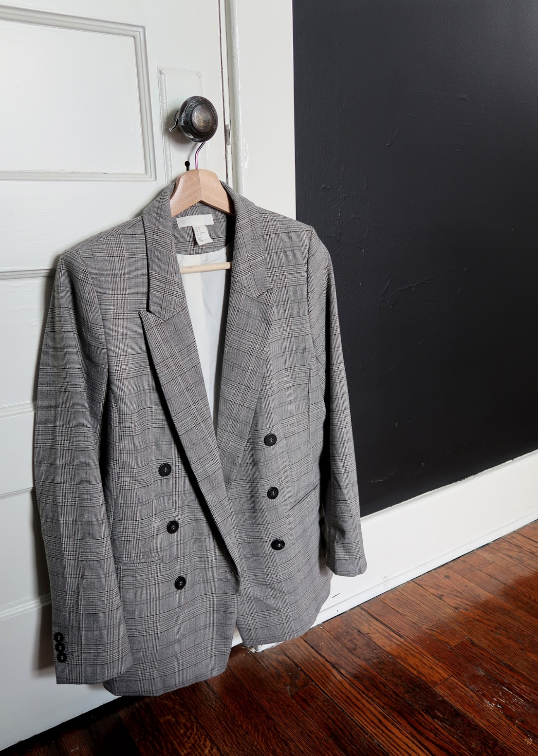 h&m blazer checked plaid long line grey black
