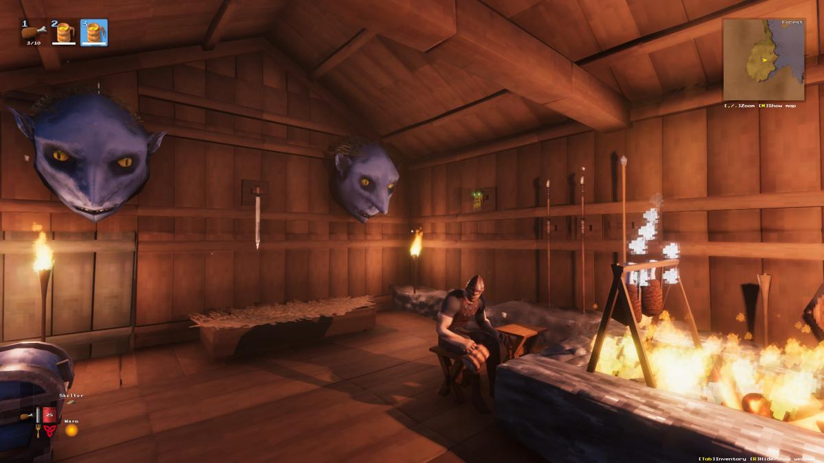 Valheim: how to build a bonfire inside a cabin and not die trying
