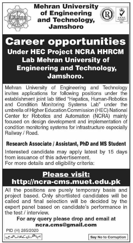 MUET University Jamshoro Jobs 2020 for Research Associate