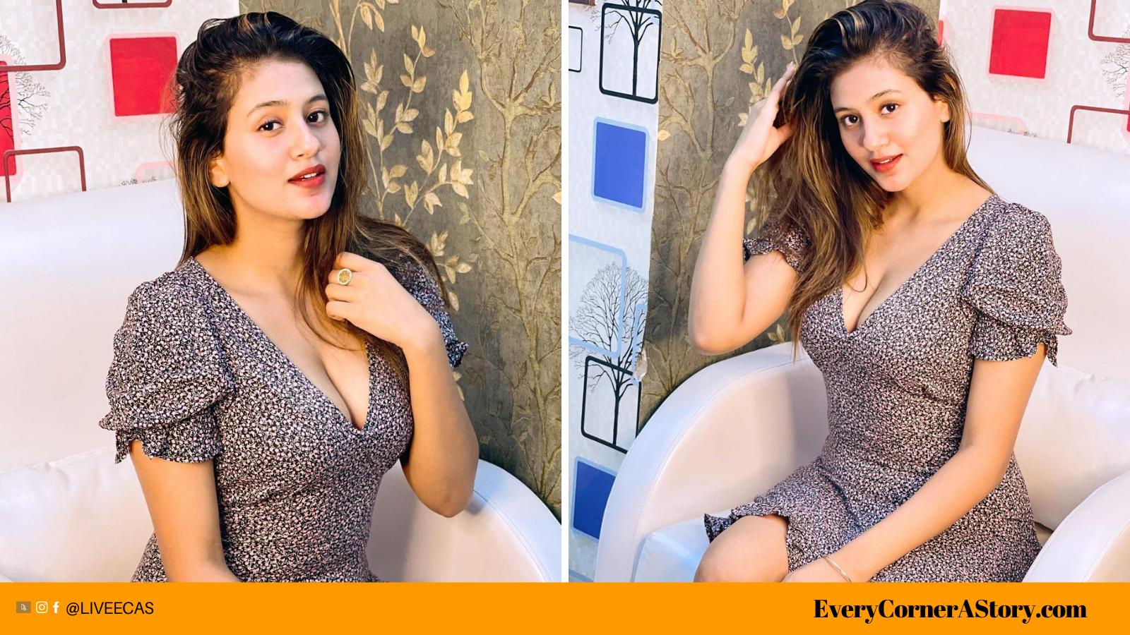 Internet Sensation Anjali Arora goes bold with plunging neckline