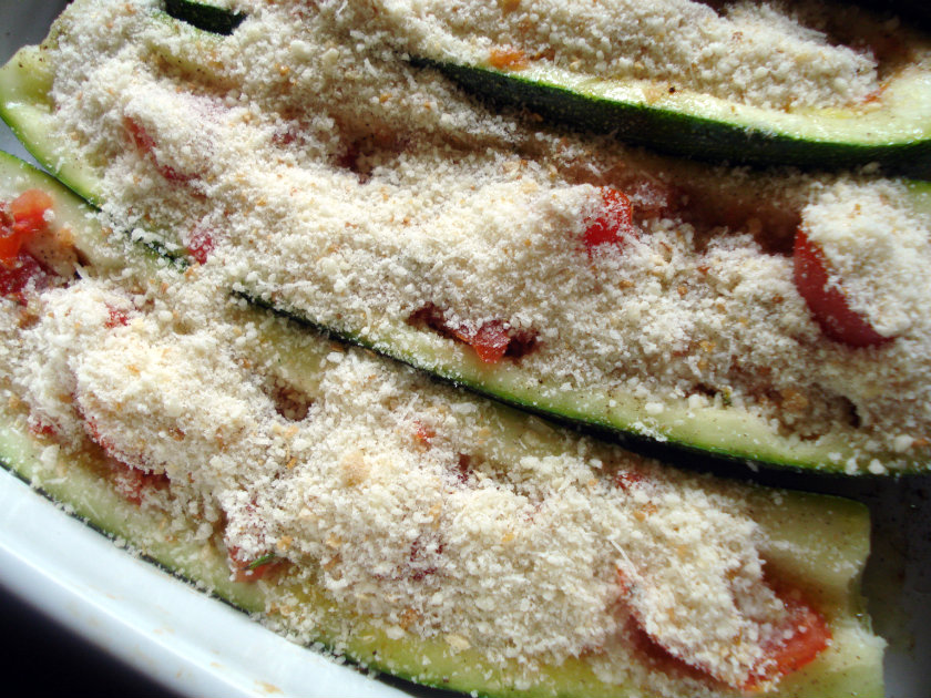 zucchini topped with breadcrumbs and parmesan