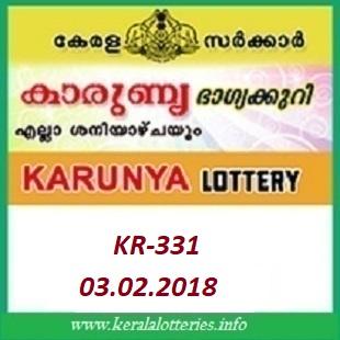 KARUNYA (KR-331) LOTTERY RESULT FEBRUARY 03, 2018