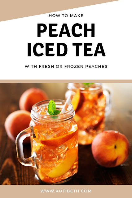 How to make peach iced tea.  You can make this sweetened or unsweetened, and it includes directions to use monk fruit, coconut sugar, or other sugar substitutions. Make homemade peach iced tea with fresh or frozen peaches. I use Lipton black tea, but you can also use white tea or green tea for summer drinks. This easy recipe tastes just like Olive Garden's peach tea.  Make a DIY simple syrup with peaches for the best easy peach iced tea recipe. #peachtea #icedtea #peach #recipe