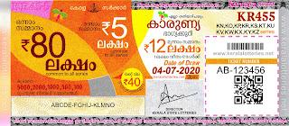 Kerala Lottery Results 04-07-2020 Karunya KR-455 Lottery Result-keralalotteries.net