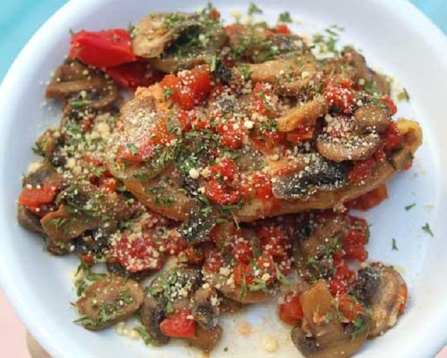 this is chicken, tomatoes and mushrooms