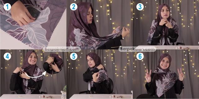 Style Ketiga Tutorial Hijab Segi Empat Simpel dan Menutup Dada