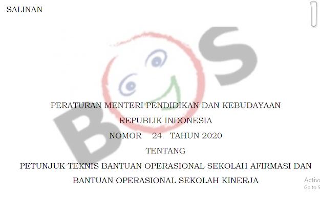 Peraturan Menteri Pendidikan dan Kebudayaan Tentang Petunjuk Teknis Bantuan Operasional Sekolah Afirmasi dan Bantuan Operasional Sekolah Kinerja.