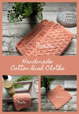 Coral Peach Cotton Dish Cloths
