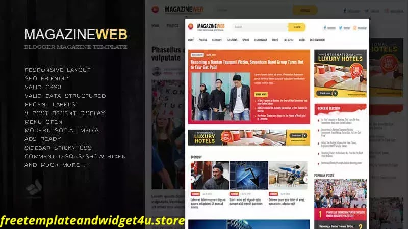 Magazineweb Blogger Template Free Download Paid Version.