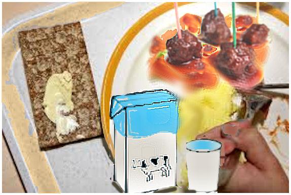 Kuvitteellinen kouluateria: lihapullat, muusi, salaatti, maito ja näkkilepä, jolla annos levitettä.