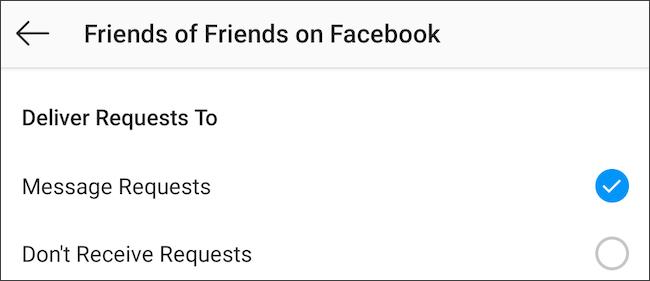 تحكم في رسائل Instagram من أصدقاء الأصدقاء على Facebook