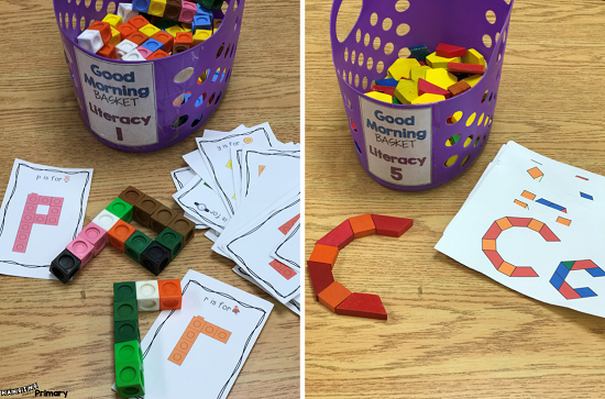Use math manipulatives for literacy skills such as building letters