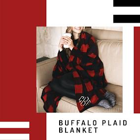 monogrammed buffalo plaid blanket