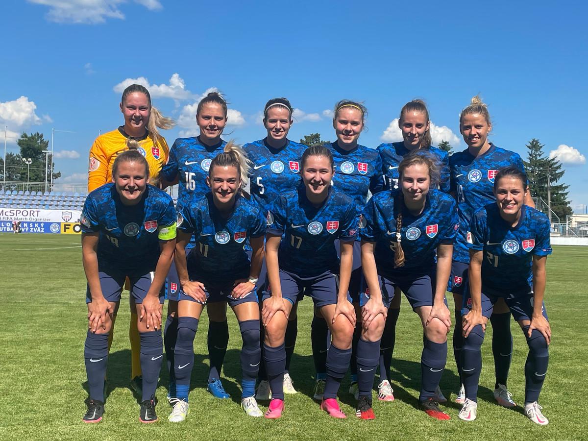 Formación de selección femenina de Eslovaquia ante Chile, amistoso disputado el 10 de junio de 2021