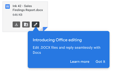 Open Office attachments from Gmail in Google Docs, Sheets, or Slides with one click