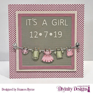 Divinity Designs Custom Dies: Letter Board, Stamp/Die Duos: Baby Clothesline, Paper Collection:: Shabby Pastels