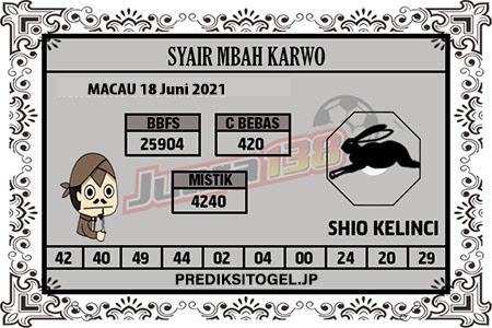 Syair Mbah Karwo Togel Macau Jumat 18 Juni 2021