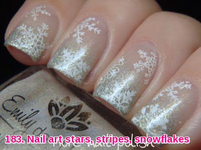 Nail art stars, stripes, snowflakes