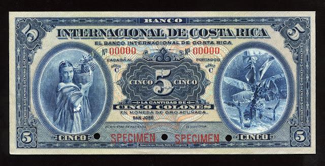 5 Colones banknote Banco Internacional de Costa Rica