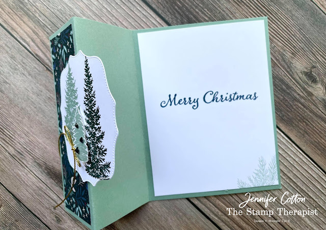 Christmas Z Fold card using Stampin' Up!®'s Evergreen Elegance Bundle.  I also used the Tidings of Christmas designer series paper, Hippo & Friends Dies, Simply Elegant Trim, and the Holiday Rhinestones.  Video, supply list, and measurements on the blog.   Click the photo to go to the blog post!  #StampinUp #StampTherapist #EvergreenElegance