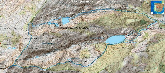 Mapa IGN con la ruta señalizada al las Laguna del Duque y del Trampal pasando por el Torreón y el Canchal de la Ceja.
