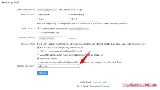 Cara Mengganti Bahasa Google Adsense ke bahasa indonesia