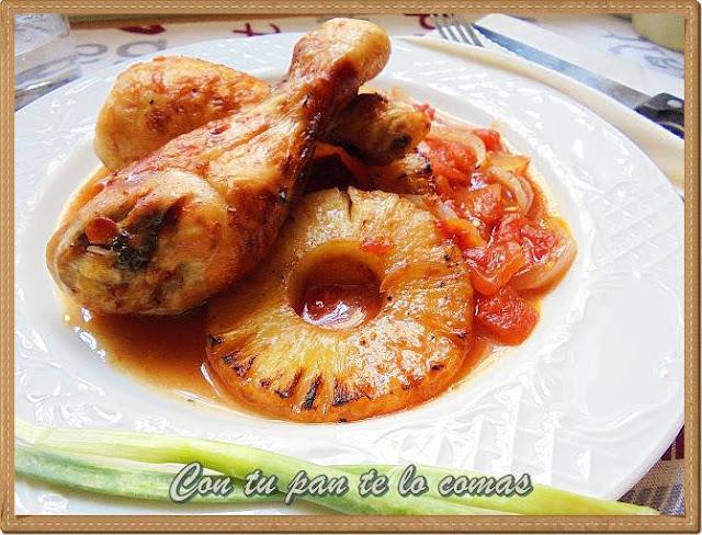 Pollo al horno con piña